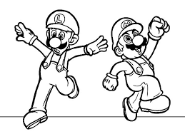 Luigi Mario And Feeling Excited Coloring Pages