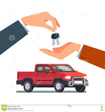Buying A New Or Used Pickup Truck Stock Vector - Illustration Of ...