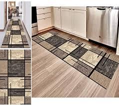 hciszl teppich läufer flur grau braun 80x250cm korridor rutschfest waschbar küche geometrisches 3d druckmuster nach maß modernes schlafzimmer
