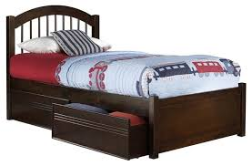 Eco friendly Twin XL Bed Walnut Finish Transitional Kids Beds