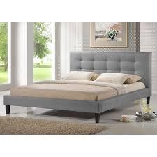 baxton studio quincy grey linen platform bed king size free