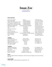 Dance Resume Examples For College Professional