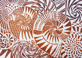 Linocut By Jackie Curtis Based On Ammonite Fossils From Kilve Beach The Colours Are Inspired Rust And Ochre Found In Rocks