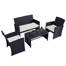 Ebay Patio Table Cover by Costway 4 Pc Rattan Patio Furniture Set Garden Lawn Sofa Wicker