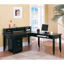 Charming L Shaped Computer Design In Black Made Of Wood By Kathy Ireland Furniture On Wooden