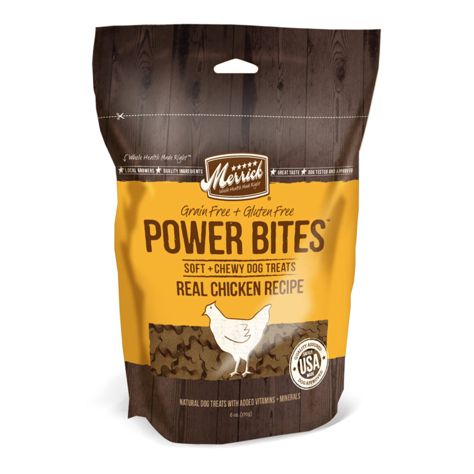 Merrick Power Bites Soft & Chewy Dog Treats - Real Chicken Recipe, 6oz
