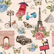 Vintage Paris Wallpaper Seamless Travel Background Royalty Free Vectors And Stock
