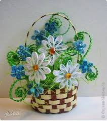 Nice Paper Quilling Gift Flower Basket Step By