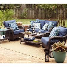 Allen And Roth Deep Seat Patio Cushions by Garden Treasures 2 Piece Cascade Creek Black Steel Patio Loveseat