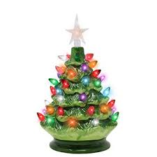 9quot Tabletop Prelit Ceramic Christmas Tree With LED Lights Battery Powered Mini