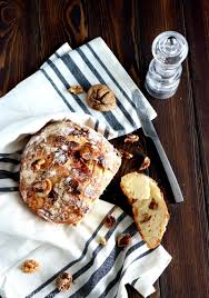 Rustic Fig Walnut No Knead Bread