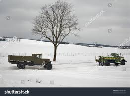 Two Old Trucks Winter Road Car Stock Photo (Edit Now) 49600198 ...