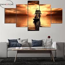 okhotcn gerahmte abstrakte sunset leinwand poster wohnzimmer wohnkultur 5 stück boot in die meer malerei wand kunst hd druck bilder
