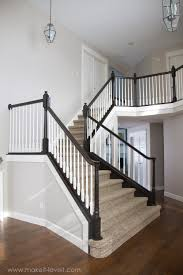 DIY: How To Stain And Paint An OAK Banister, Spindles, And Newel ... Stalling Banister Carkajanscom Banister Spindle Replacement Replacing Wooden Stair Balusters Model Staircase Spindles For How To Replace Pating The Stair Stairs Astounding Wrought Iron Unique White Back Best 25 Black Ideas On Pinterest Painted Showroom Saturn Stop The Uks Ideas Top Latest Door Design Decorations Outdoor Railing Indoor Remodelaholic Renovation Using Existing Newel Fresh Rail And