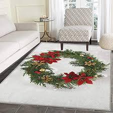 de weihnachtsteppich für schlafzimmer blumenkranz