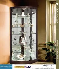 680603 howard miller espresso finish curved glass doors corner