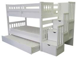 Bunk Bed With Trundle White Twin Transitional Bunk Beds by