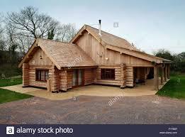 100 Modern Wooden Houses A Large Modern Wooden Log House In SomersetUK Stock Photo 86822926