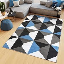 de tapiso teppich kurzflor grau weiß blau