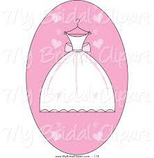 Bridal Clipart of a White and Pink Pretty Wedding Dress on a Hanger over a Pink