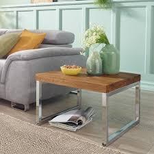 finebuy beistelltisch massiv holz sheesham wohnzimmer tisch mit metallgestell landhaus stil couchtisch dunkelbraun natur produkt wohnzimmermöbel