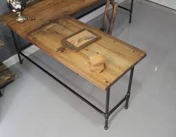 Small Desk Ideas Diy by L Shaped Reclaimed Wood Corner Desk Top Surface And Cast Iron Pipe