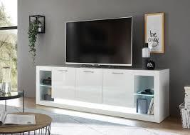 lowboard tv schrank fernsehtisch meran 198cm weiß hochglanz modern