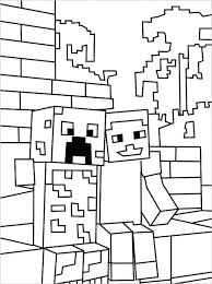 Mincraft Colouring Pages Coloring Page Boy Sitting On Wall Minecraft Steve Diamond Armor