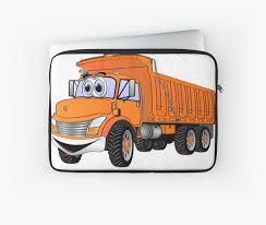 Dump Truck 3 Axle Orange Cartoon