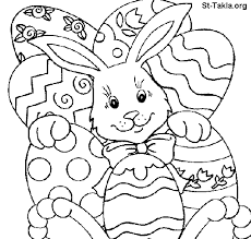 Easter Bunny And Eggs Coloring Pages For Kids Childrens Free Download