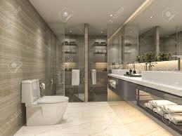 3d das modernes klassisches badezimmer mit luxusfliesendekor überträgt