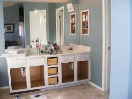 Elegant White Painting Bathroom Cabinets With Double Sink Vanities