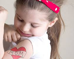 Temporary Tattoo For Girls Mom Heart Valentines Gift Kid Fake Red