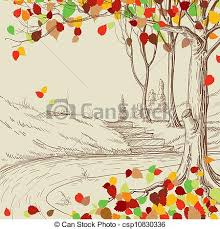 Autumn Tree In The Park Sketch Bright Leaves Falling Vector
