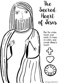 Free Sacred Heart Of Jesus Coloring Page And Craft Printable