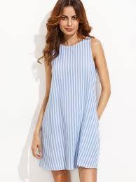 stripe button keyhole back swing dress shein sheinside