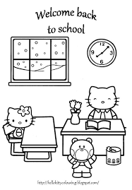 BACK TO SCHOOL HELLO KITTY COLORING PAGE