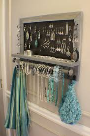 Rustic Weathered Grey Scroll Trim Series Wall Mounted Jewelry Organizer With Bracelet Bar Display Necklace Holder Diy