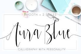Aura Blue Modern Calligraphy Font Script Fonts Creative Market