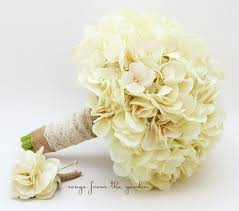 Wedding Bouquet Cream Silk Hydrangea Burlap Lace Grooms Boutonniere Rustic Ivory Flower Bridal