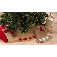 Felicia Poinsettia Burlap Holiday Christmas Tree Skirt Stocking White 53