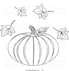 Vector Clip Art of a Black and White Halloween Pumpkin Coloring Page with Autumn Leaves