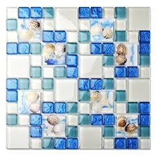 tst mosaic tiles glass conch tiles style sea blue glass tile