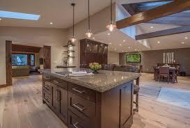 Open Concept Floor Plan With Vaulted Ceilings Rustic Kitchen