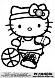 This Is A Coloring Sheet With Hello Kitty That Can Be Printed About To Kick Soccor Ball European Football And Wearing Shorts