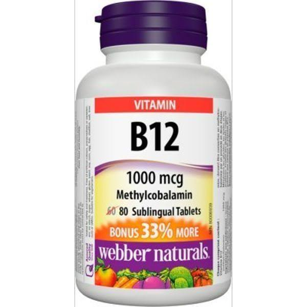Webber Naturals Triple Strength Vitamin Supplement - 1000mcg, 80 Tablets