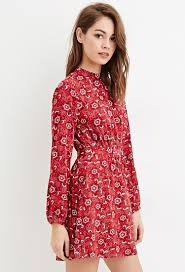 forever 21 high neck floral print dress in red lyst