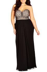 city chic u0027motown u0027 strapless lace u0026 chiffon maxi dress plus size