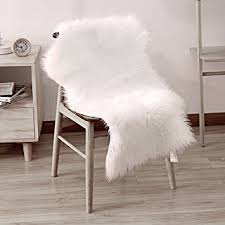 LEEVAN Faux Fur Rug Supersoft Plush Fluffy Chair Cover Sheepskin Seat Shaggy Throw Floor
