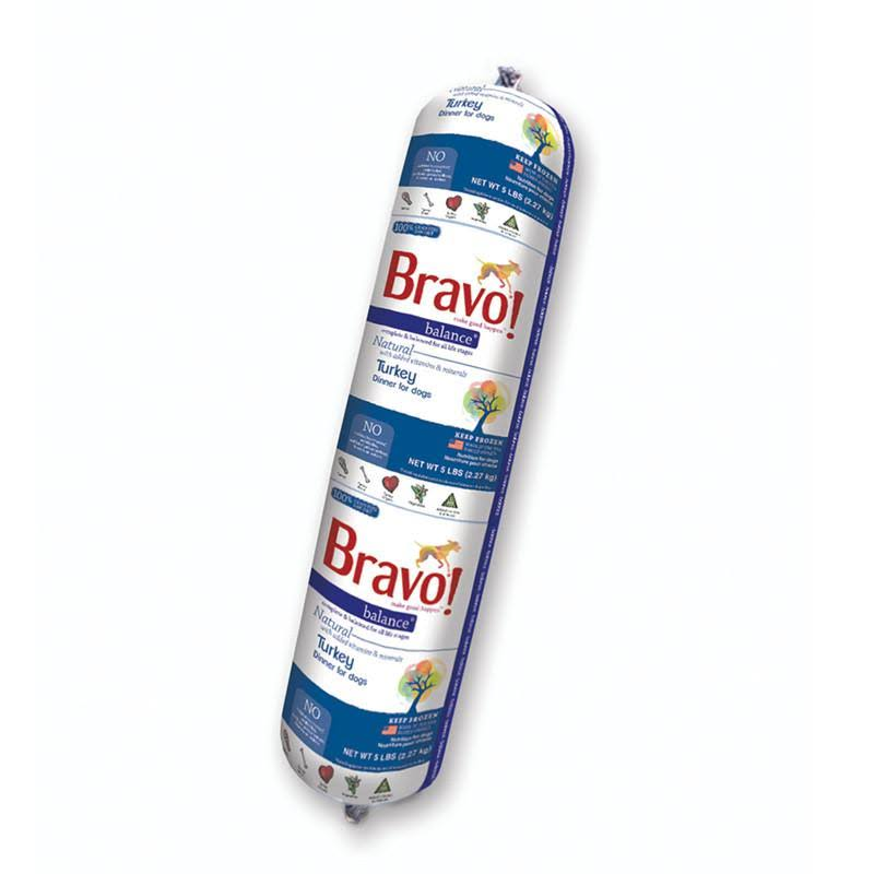 Bravo Balance Turkey Frozen Raw Chub Dog Food 5lb